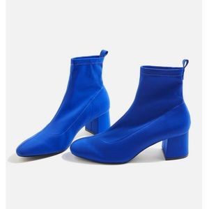 NEW Topshop Blue Buttercup Round Toe Sock Booties